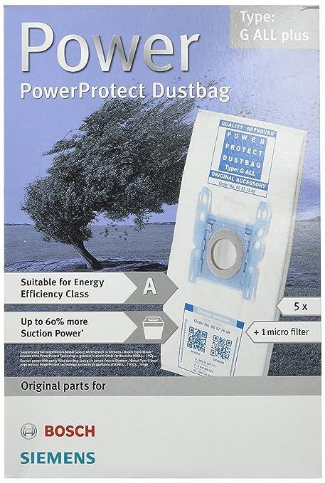 Bosch Genuine Original tipo G todo tipo de PowerProtect SMS Kit de bolsas y filtro para aspiradoras
