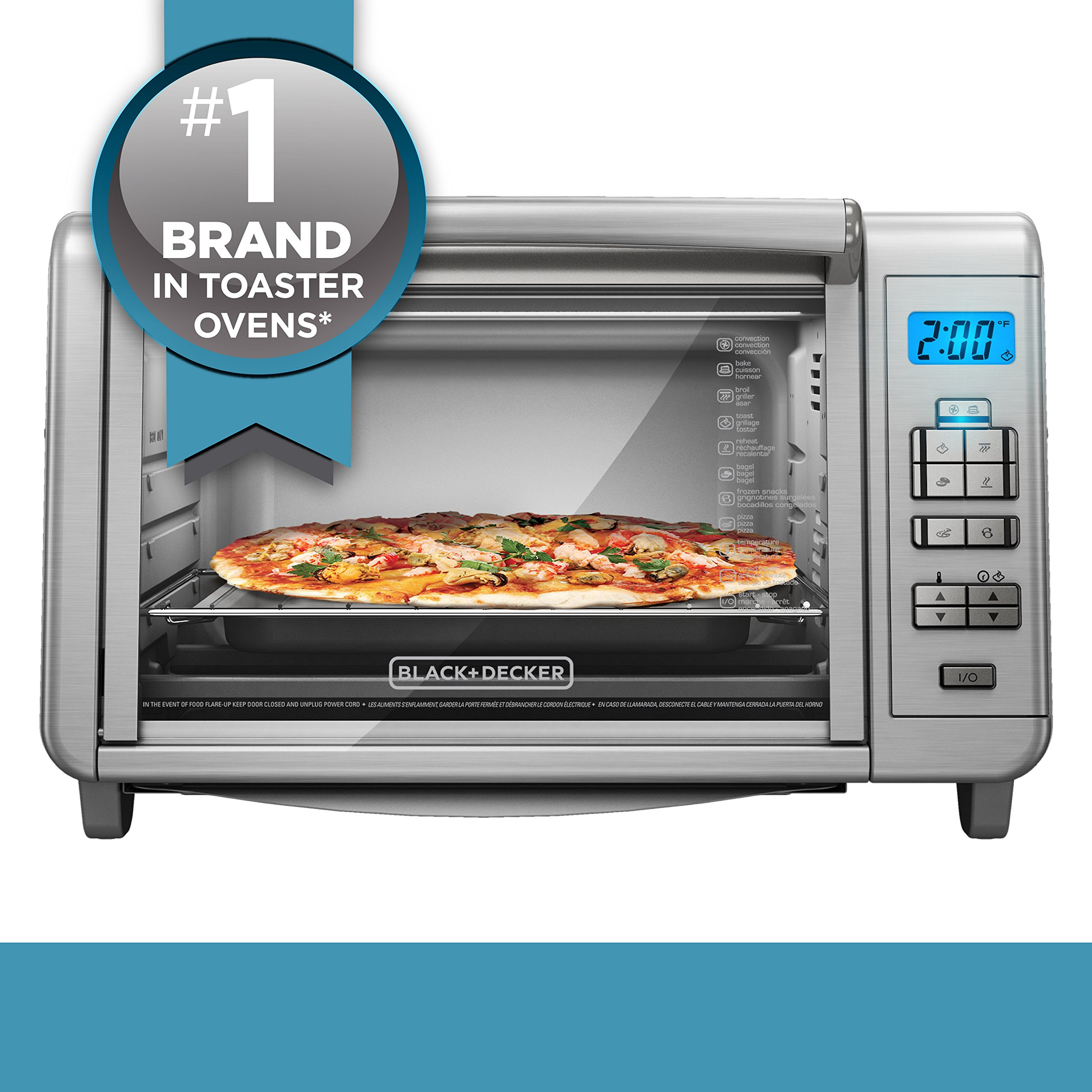 BLACK+DECKER 6-Slice Digital Convection Countertop Toaster Oven, Stainless Steel, TO3280SSD by BLACK+DECKER (Image #5)