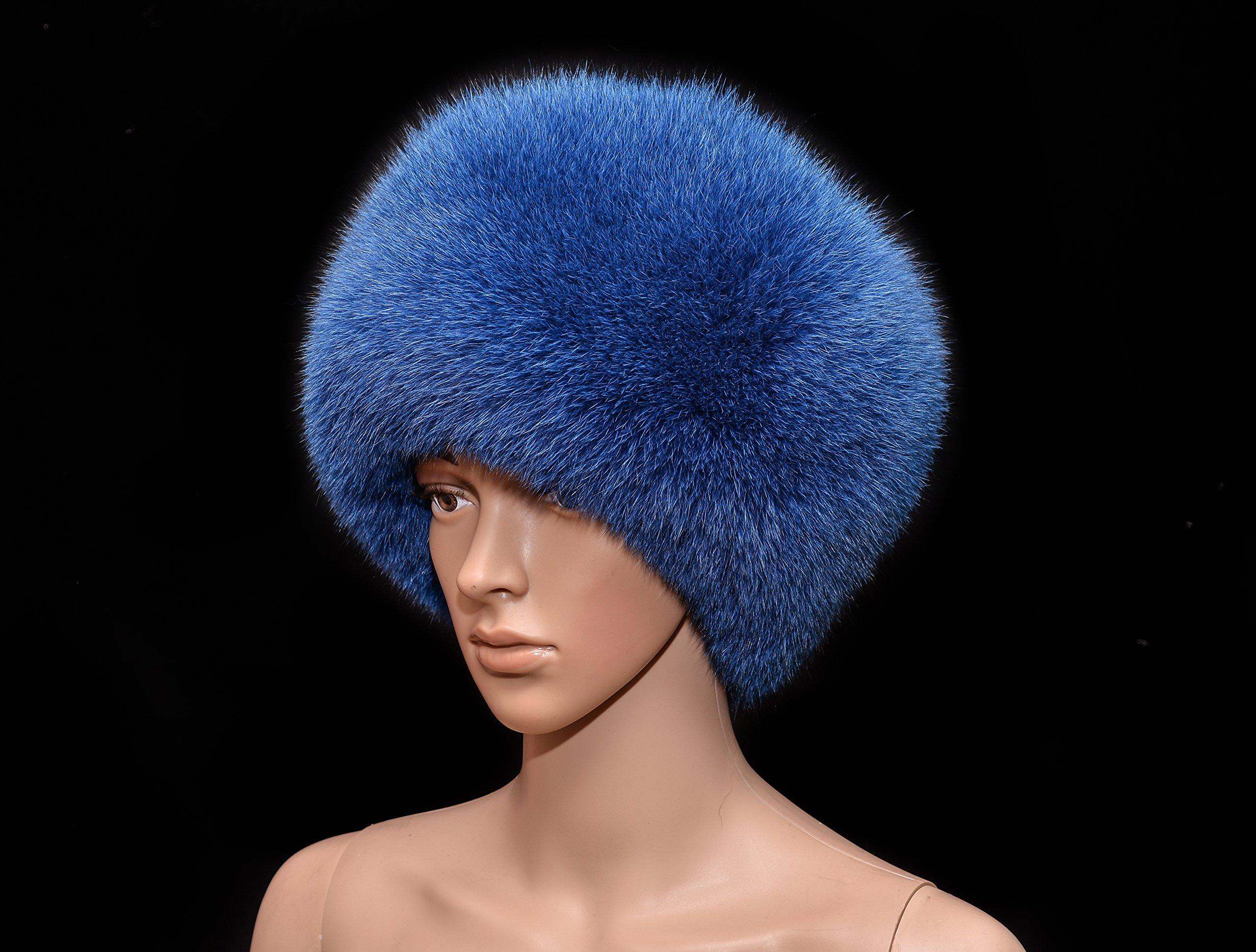 Saga Furs Electro Blue Fox Fur Handmade Ladies Flat Top Bucket Hat