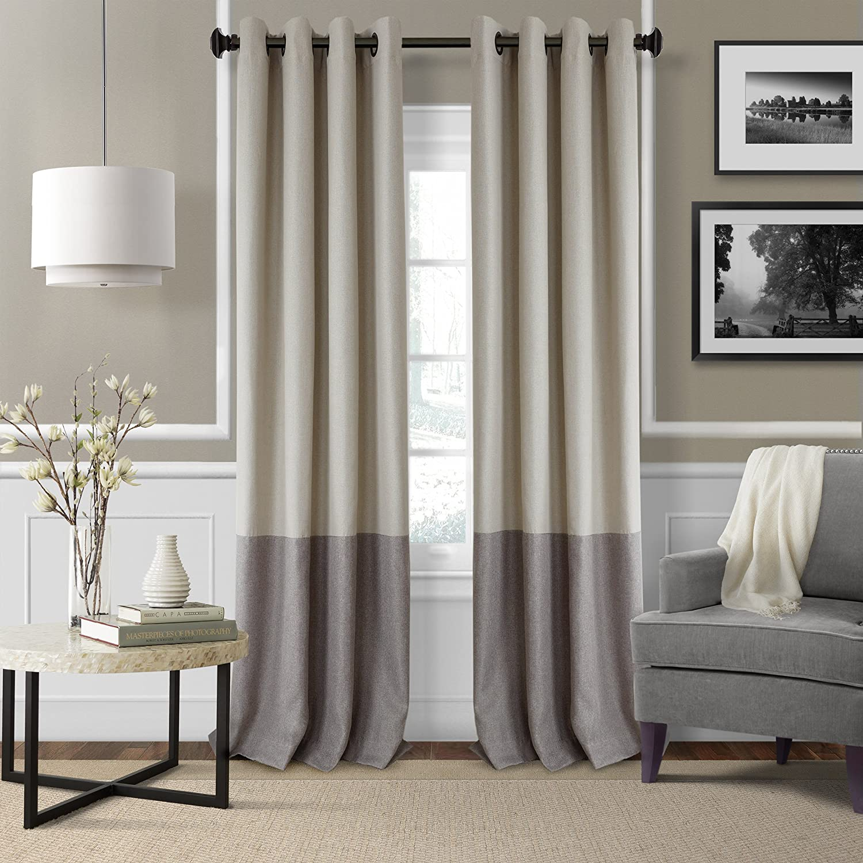 "Elrene Home Fashions 26865874723 Braiden Room Darkening Grommet Window Curtain Drape Panel, 52"" x 95"", Linen, 1"