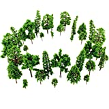 38-Piece Imitation Miniature Trees for Model Train Railroad, Landscape or Architectural Scenery or Terrariums 1:100 scale (38-pack)
