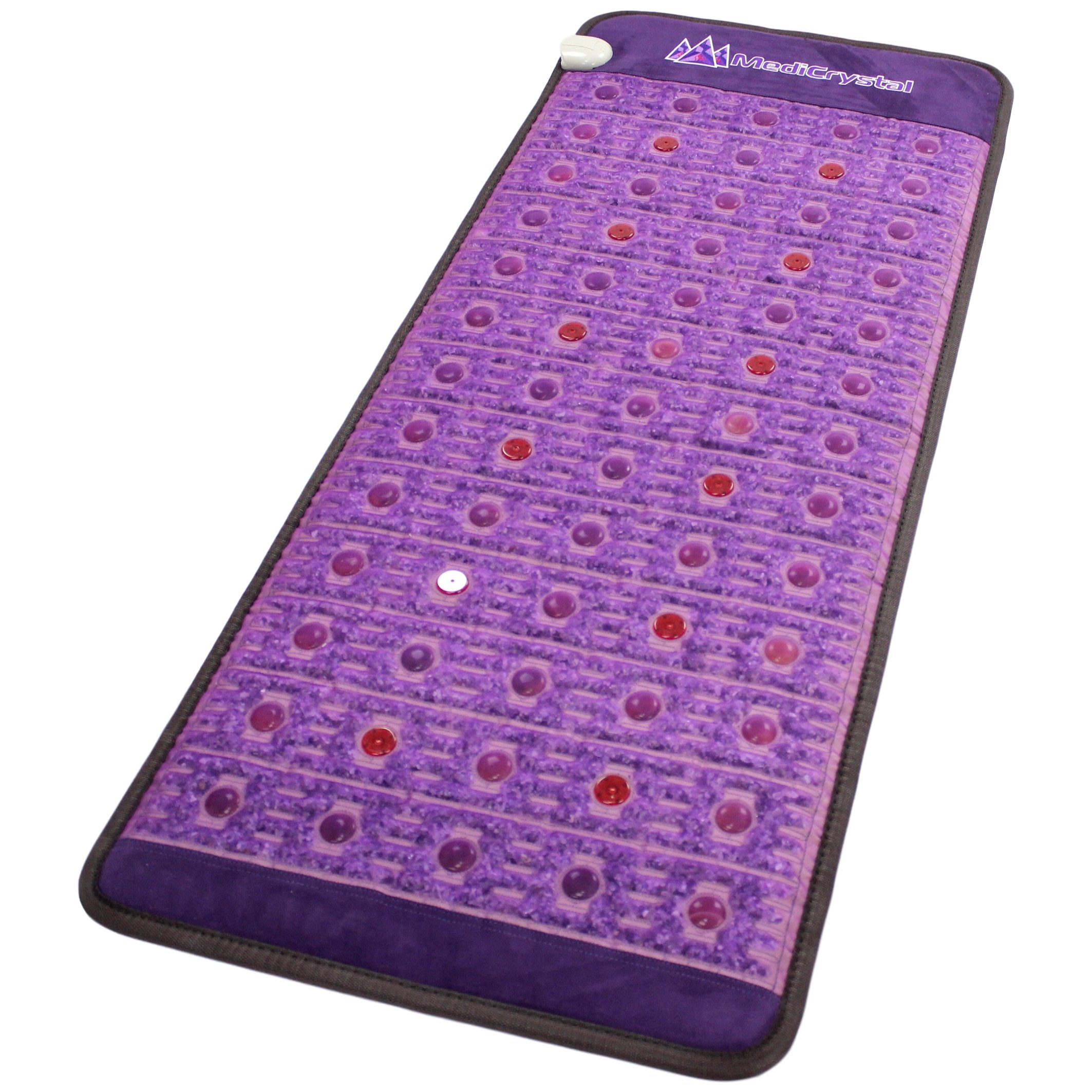 Far Infrared Amethyst Mat + Natural Agate Gems - FIR Heat - Negative Ion - Red Light Photon Therapy - 10Hz PEMF Bio Magnetic Pulsation - FDA Registered Manufacturer - Purple (Midsize 59''L x 24''W) by MediCrystal (Image #3)