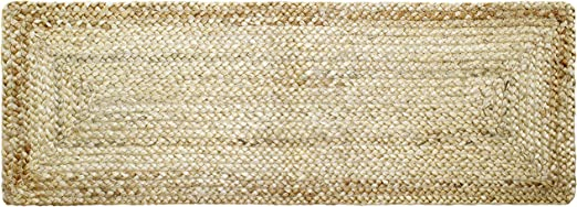 Reversible Jute Braided Table Runner 13x36 Inch Natural Circles Cotton Craft Hand Woven Spot Clean Only 100/% Jute