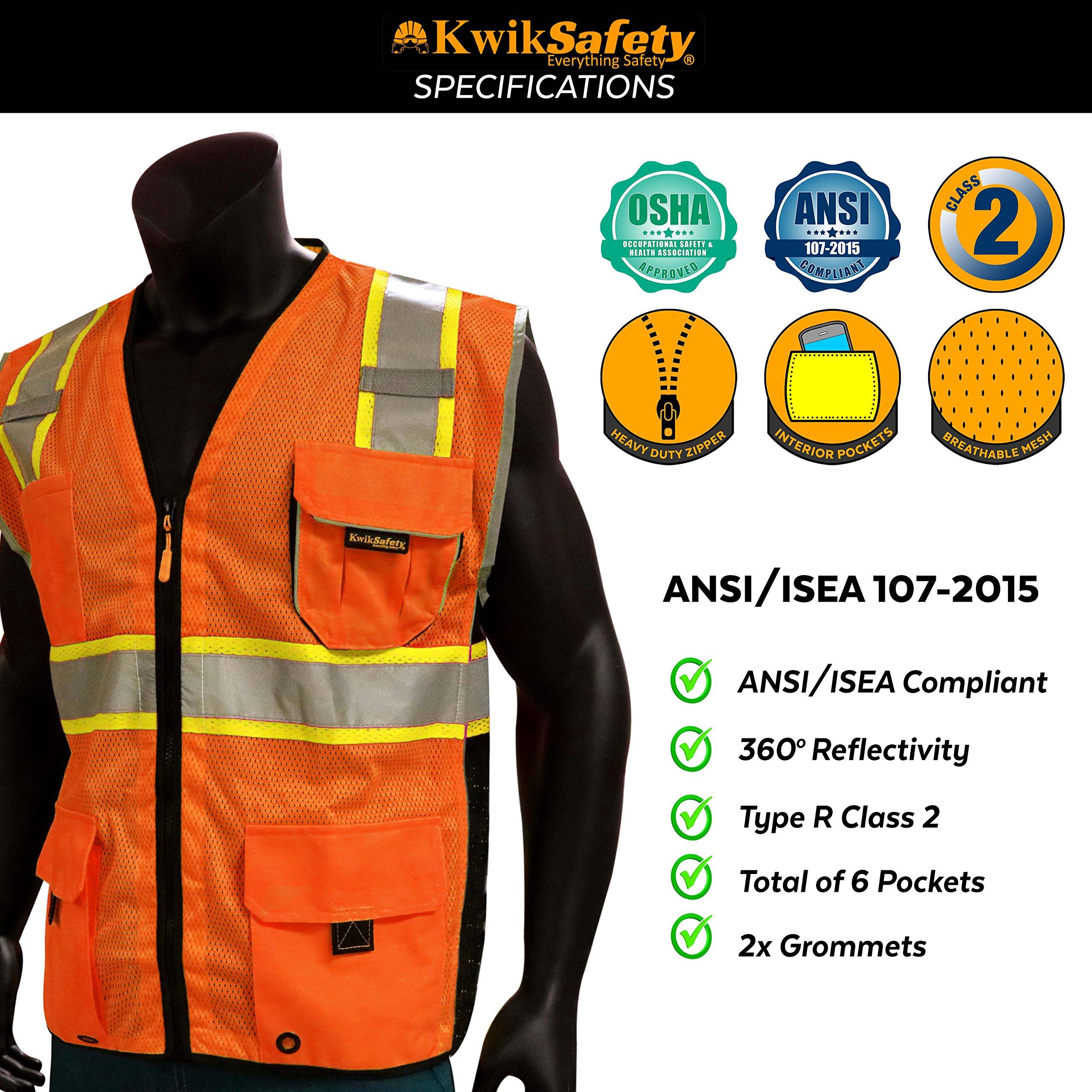 KwikSafety CLASSIC Safety Vest | Class 2 ANSI OSHA PPE | High Visibility Reflective Stripes, Heavy Duty Mesh with Pockets and Zipper | Hi-Vis Construction Work Hi-Vis Surveyor | Orange S/M by KwikSafety (Image #6)