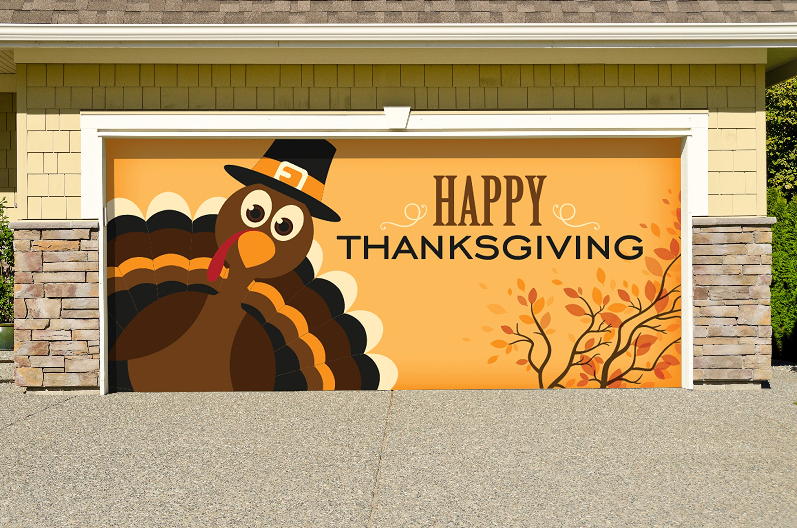 Victory Corps Outdoor Thanksgiving Holiday Garage Door Banner Cover Mural Décoration - Happy Thanksgiving Turkey - Outdoor Thanksgiving Holiday Garage Door Banner Décor Sign 7'x 8'