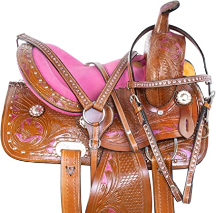 Acerugs Premium Black Western Barrel Racing Crystal Show Trail Children Youth Horse Saddle TACK