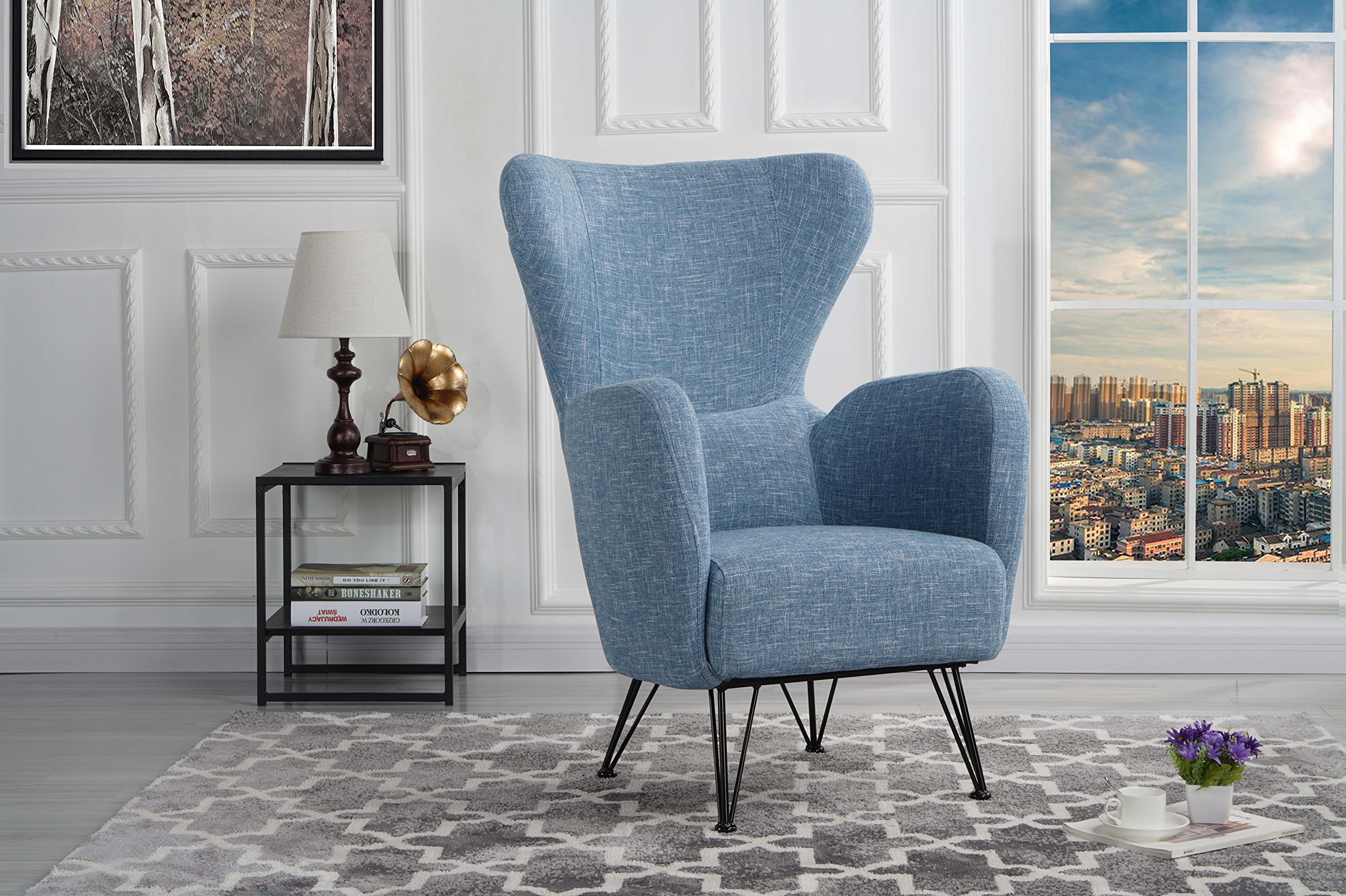 Mid-Century Modern Linen Fabric Accent Armchair with Shelter Style Living Room Chair (Blue) by DIVANO ROMA FURNITURE