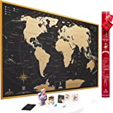 Limited Edition InLove Scratch off World Map Wall Poster with US States Outlined, Lovely Packaging, Includes Pins, Buttons and Scratcher, Extra Size 35x25 Inches. Perfect Gift For Traveler!