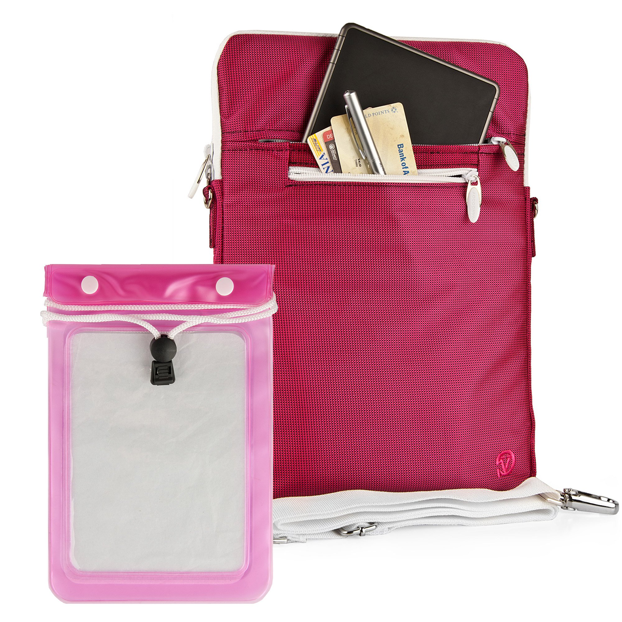 Quality Modern Messenger Style, Hot Magenta Vangoddy Select 10 Inch Hydei Clutch Sleeve Cover for All Models of the samsung galaxy tab 2 10.1 Inch (Galaxy Tab 2 10.1 Inch, Wifi, P5100, Android 4.0) + Waterproof Tablet Bag Case fits 8 - 10 inch Tablets