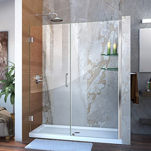 DreamLine Unidoor 58-59 in. W x 72 in. H Frameless Hinged Shower Door with Shelves in Chrome, SHDR-20587210S-01