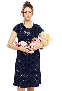 a02412e6d3bb3 ZEYO Women's Cotton Navy Blue & Pink Maternity Dress | Printed Feeding  Night Dress