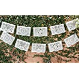 Beautiful Medium Sized White Papel Picado perfect for Weddings, Baptisms, and Birthday Parties by Paper Full of Wishes