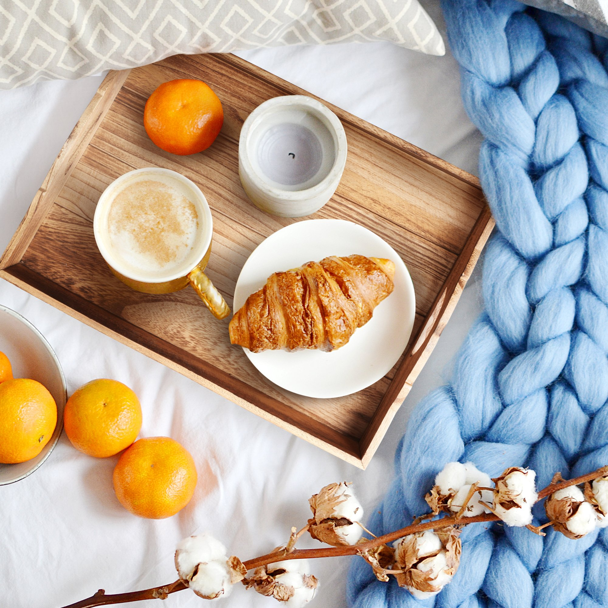 Wood Serving Tray – Suitable for use as an Ottoman Tray, Breakfast in Bed Tray and Home Décor Style Piece – Easy to Carry Handles – 18 x 14 inches – Natural Wood + FREE Home Décor eBook by lifetoenjoy (Image #6)