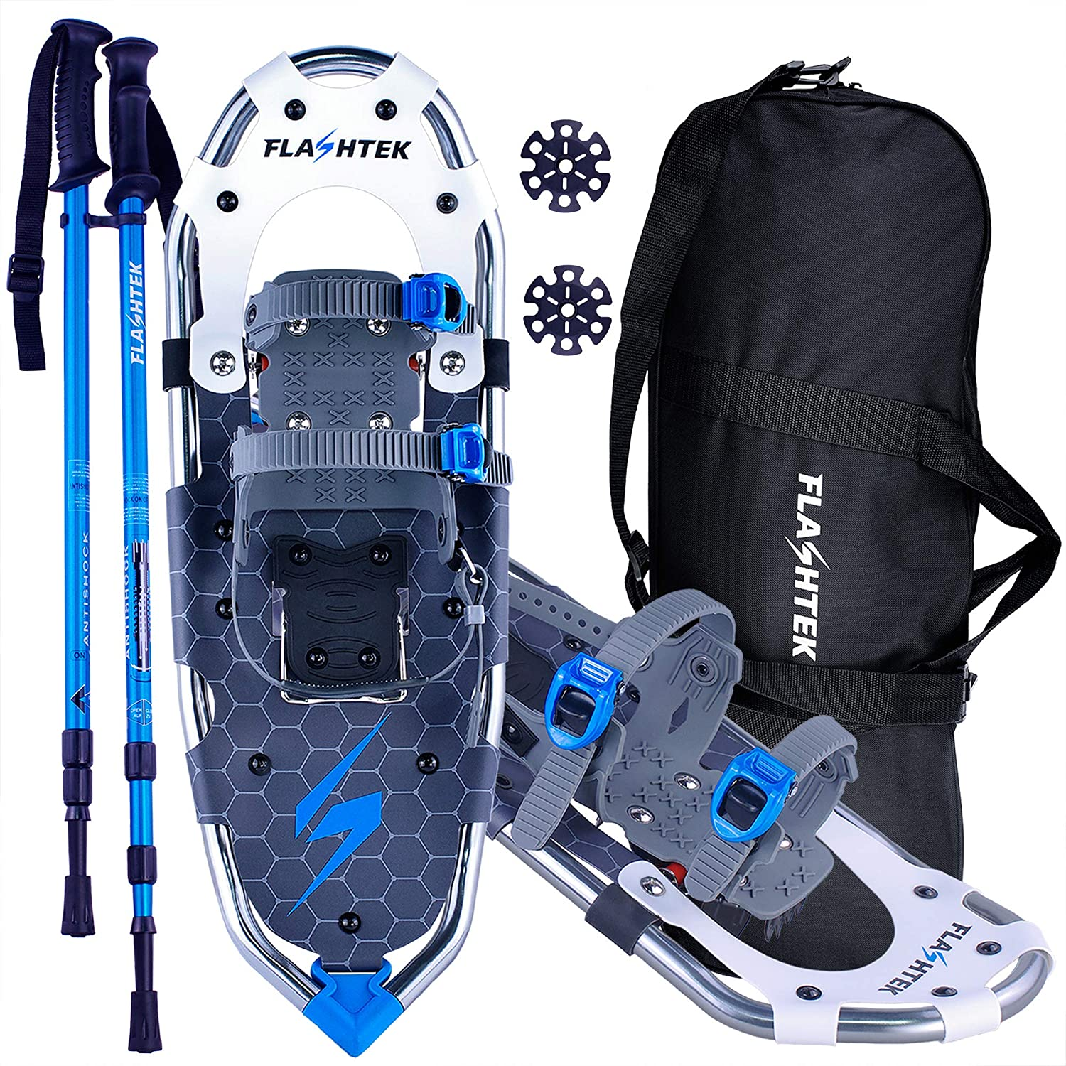 FLASHTEK Lightweight Snowshoes for Men Women Youth, Aluminum Terrain Snow Shoes for Hiking and Heel Lift Riser for Mountaineering with Trekking Poles and Carrying Tote Bag
