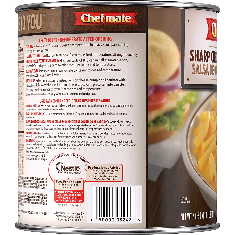 Amazon.com: Chef-mate Sharp Cheddar Cheese Sauce, Macaroni and Cheese, 6 lb 10 oz, #10 Can Bulk