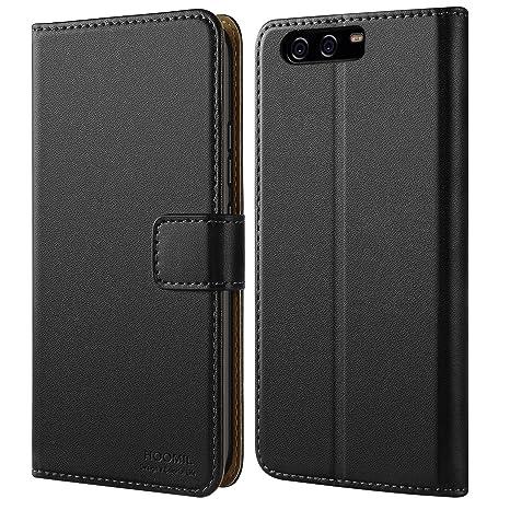 HOOMIL Huawei P10 Hülle, Handyhülle Premium Leder Tasche Flip Case Schutzhülle für Huawei P10 - Schwarz (H3061)