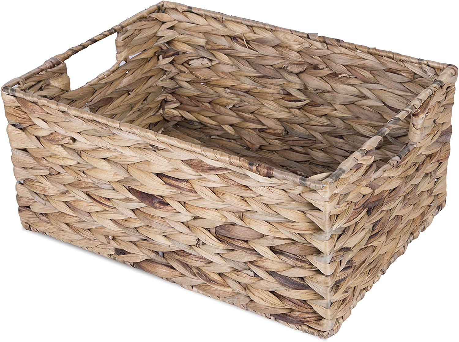 BASIC HOUSE Water Hyacinth Wicker Storage Collection Display Hamper Basket (Medium)