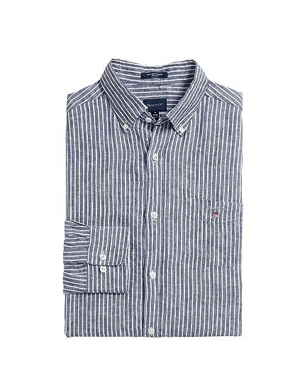 Gant - Camisa Casual - con Botones - Manga Larga - para Hombre Azul 423 Persian Blue L: Amazon.es: Ropa y accesorios