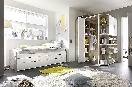 moebel-guenstig24.de Ausziehbett + Eckkleiderschrank Nessi Bett 90cm ...