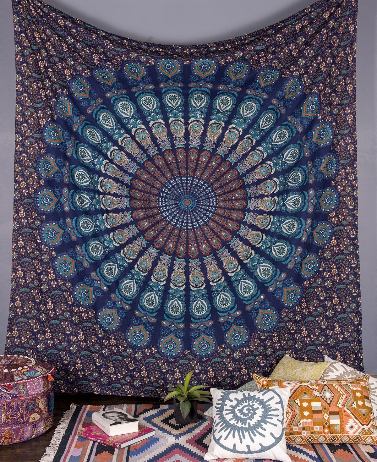 Amazoncom Beautiful Blue Peacock Mandala Tapestry By