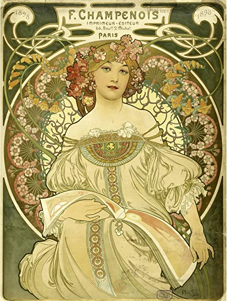 Amazon Com Mucha Champenois Printer Printing Nouveau Advert Large Print Poster Wall Art Decor Picture Posters Prints