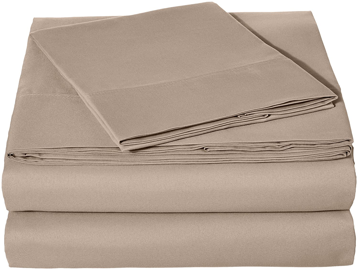 "AmazonBasics Lightweight Super Soft Easy Care Microfiber Sheet Set with 16"" Deep Pockets - Twin XL, Taupe"