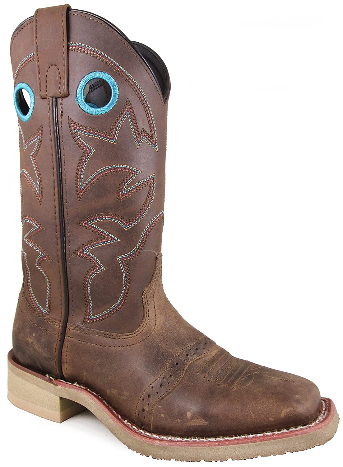 Smoky Mountain Women's Hayden Pulll On Holes Square Toe Brown Oil Distress/Brown Boots B071JZRSZB 6 B(M) US