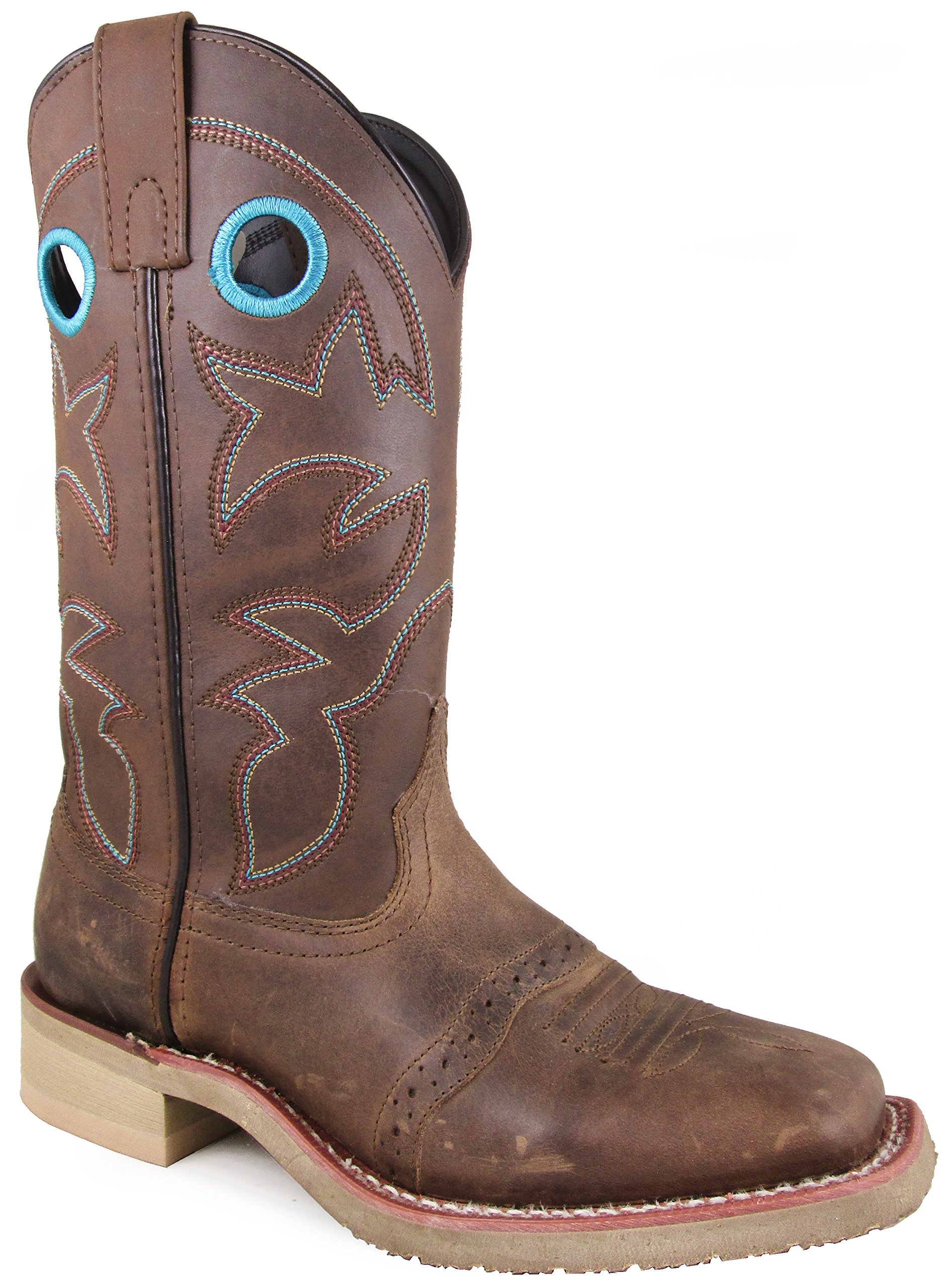 Smoky Mountain Women's Hayden Pulll On Holes Square Toe Brown Oil Distress/Brown Boots 10M