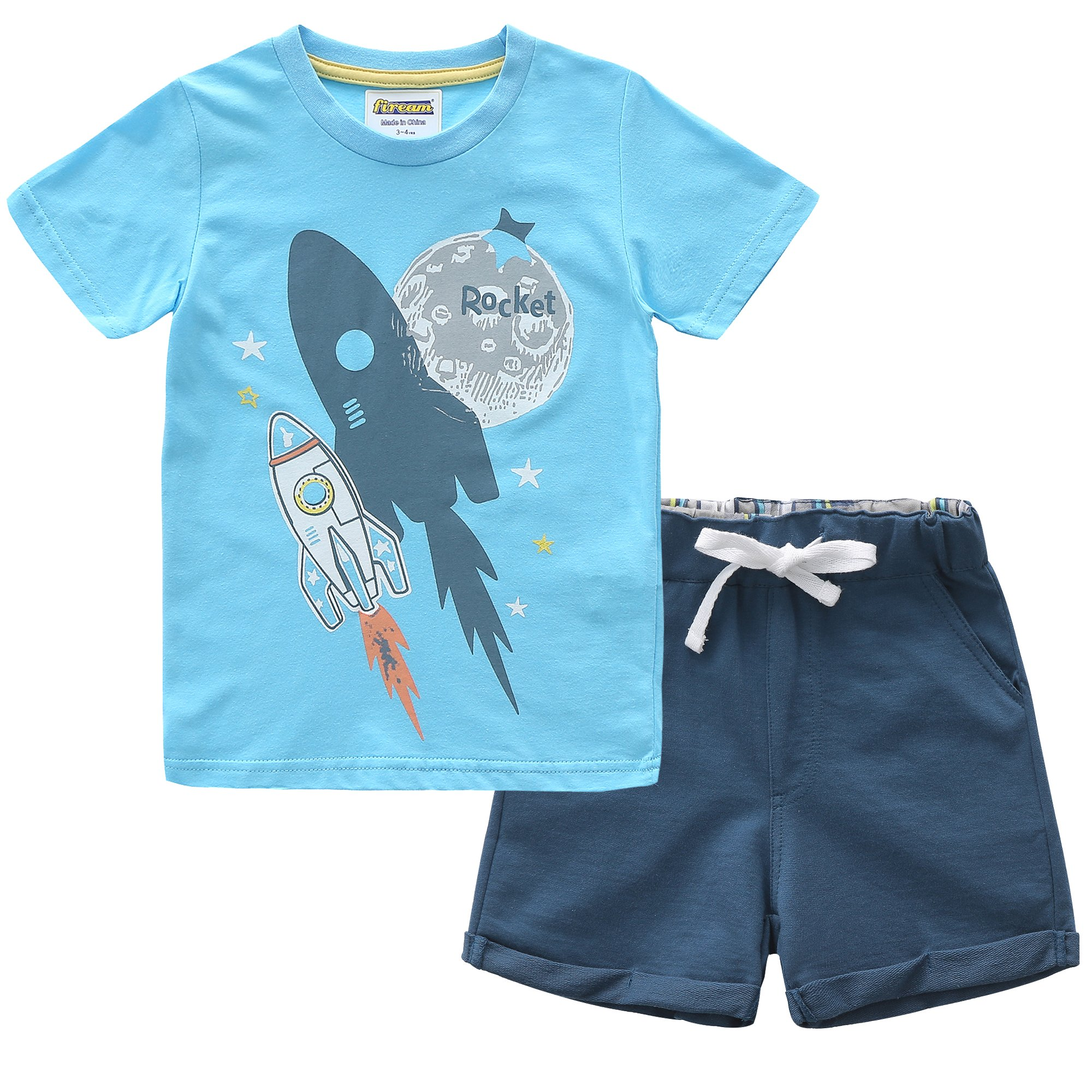 Fiream Boys Cotton Summer Sets Shortsleeve Space Pattern t-Shirts and Shorts 2 pcs Clothing Sets(18022,2T/2-3YRS)