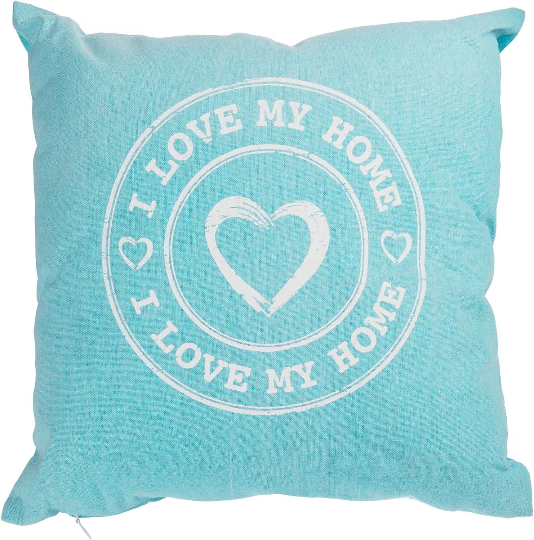 aprox. 40/x 40/cm Decoraci/ón Coj/ín con cremallera color a elegir, tela, azul, ca. 40 x 40 cm almohada I love my home funda de coj/ín