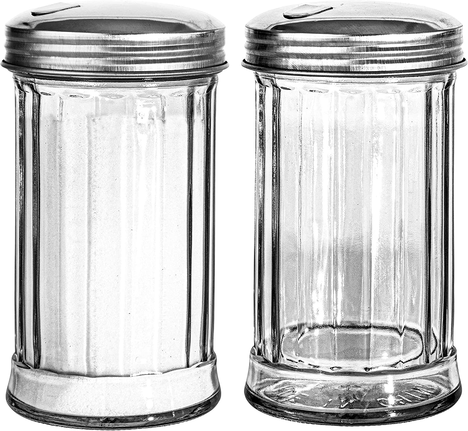 Stock Your Home Glass Sugar Dispenser (2 Pack) - Fluted Sugar Pourer with Stainless Steel Self Closing Lid - Crystal Clear Sugar Shaker for Diners, Cafes, Bakeries, Coffee Shops, Restaurants, Kitchens
