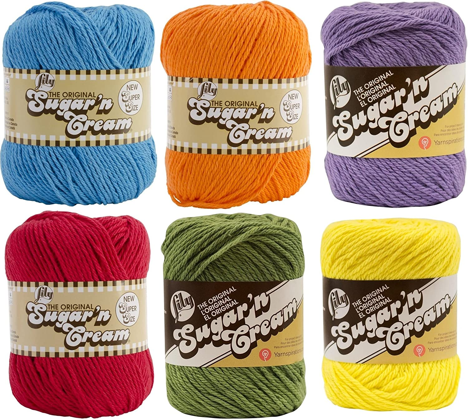 PLAYTIME 6 Pack Bold colors of Orange The Original 2 ounce size Pink and Yellow Bulk Buy 2oz 95yd ea Lily Sugar N/' Cream