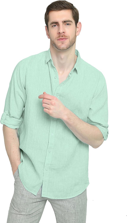 Najia Symbol Ropa Camisa de 100% Lino Blanca Hombre (Verde Claro, S/ES 44-46): Amazon.es: Ropa y accesorios