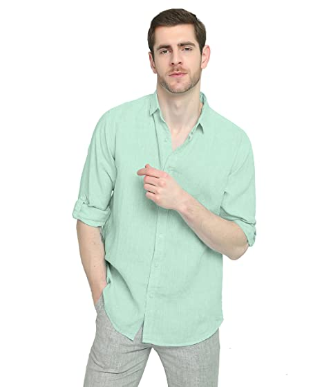 4f5dd0340fc70 Najia Symbol Men s Casual Roll up Long Sleeve Solid 100% Linen Shirt (Light  Green