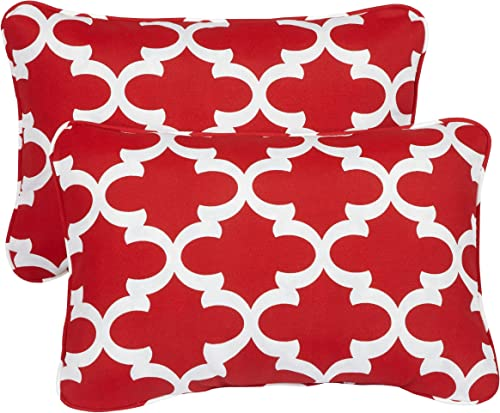 Mozaic AZPS2020 Indoor Outdoor Lumbar Pillows with Corded Edges, Set of 2, 13 x 20 inches, red