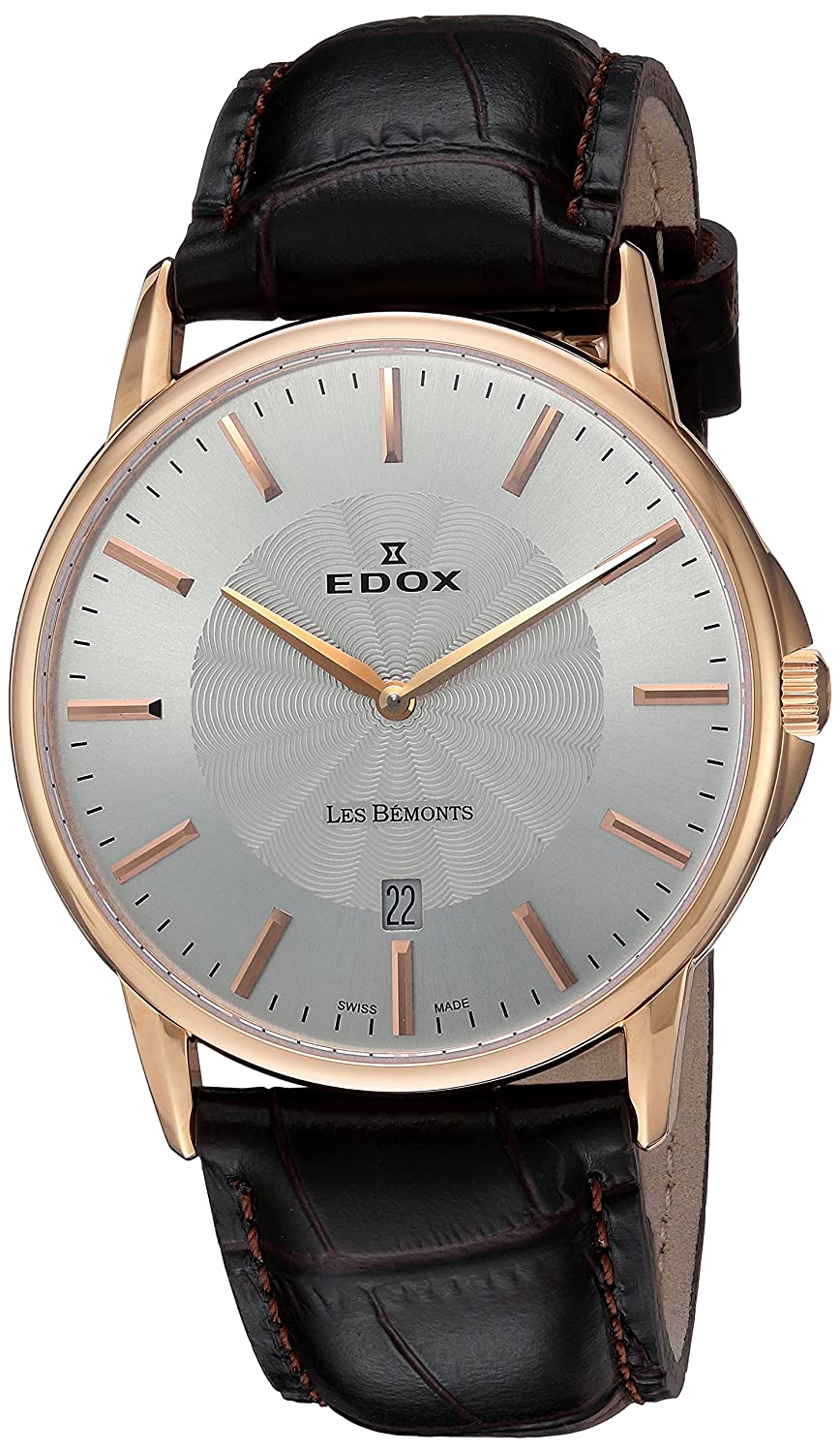 EDOX Unisex-Armbanduhr EDOX LES BÈMONTS SLIMM MOVEMENT Analog Quarz Leder 56001 37R AIR