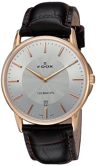 Edox Reloj Analógico para Unisex de Cuarzo con Correa en Cuero 56001 37R Air: Amazon.es: Relojes