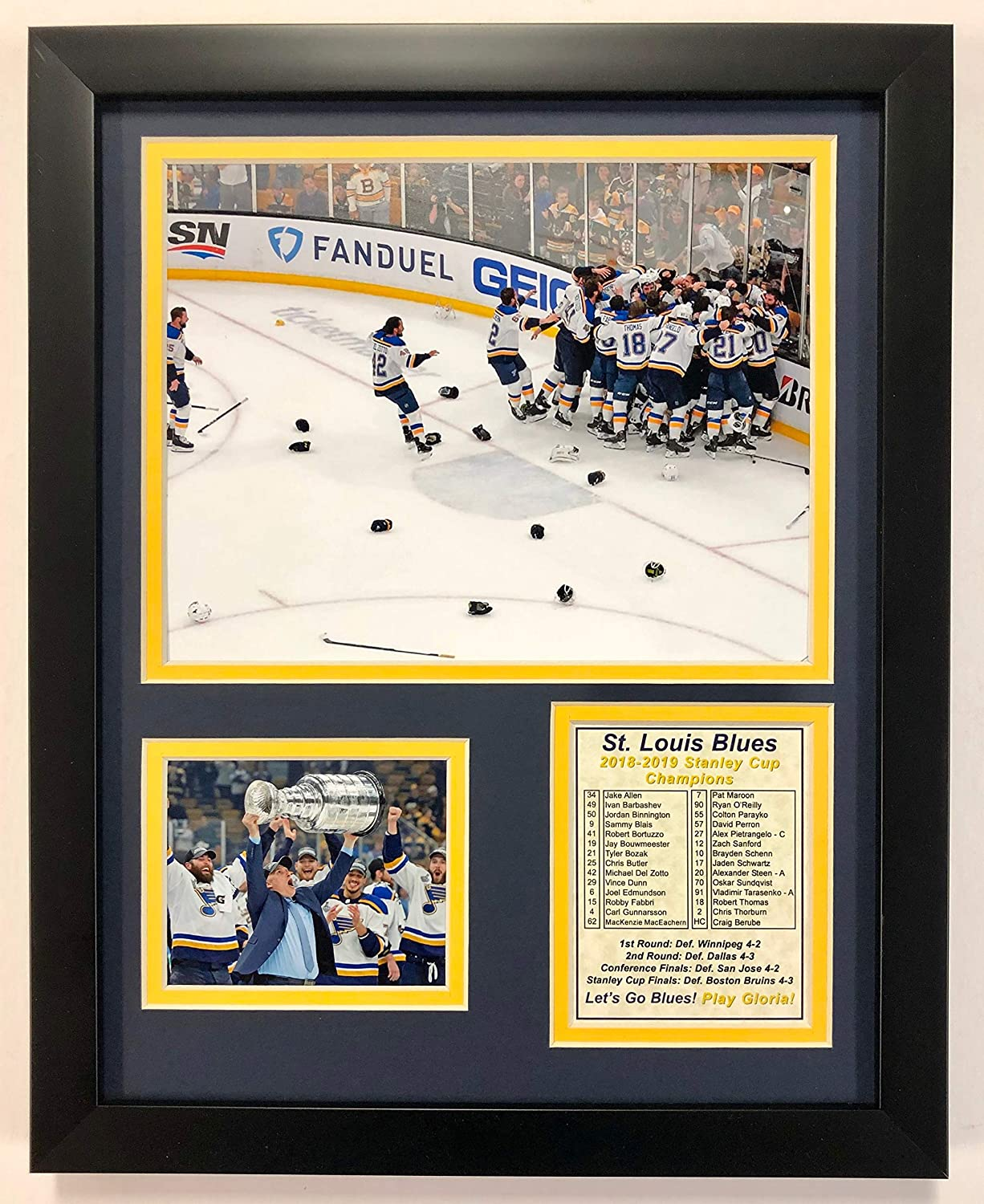 Louis Blues 2018-2019 Stanley Cup Champions Framed Double Matted Photos Legends Never Die NHL Unisex NHL St