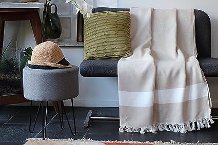 Funda para sofá, color beige | Talla XL 150 x 220 cm, 100% algodón de alta calidad - Manta, plaid o cubre para un sofá, una cama o un sillón | Allée ...