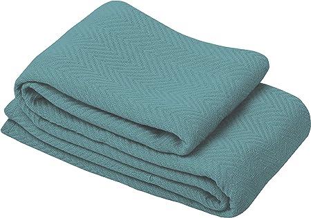MOCASA Manta de algodón 100% – Manta de Cama de algodón Supersuave Premium – Tejido de Espiga – Todo Tipo de Clima – Manta Multiusos para Cama: Amazon.es: Hogar