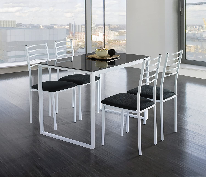 Kit Closet Conjunto Noa de Mesa de Cocina + 4 sillas Cristal Negro ...