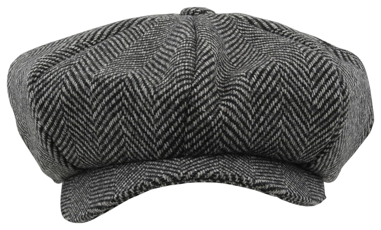 Atano Mens Herringbone Bakers Boy Cap Black Mix