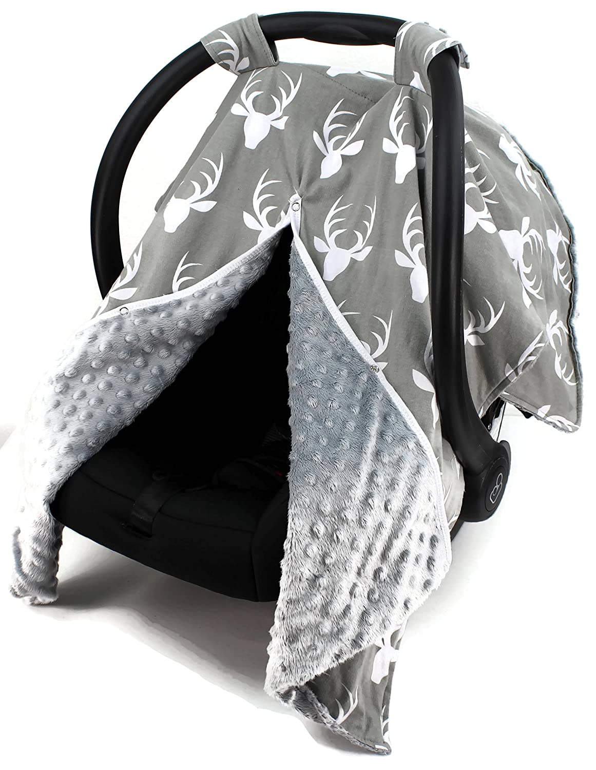 Cute Baby Car Seat Canopy Cover All Cotton or Minky Gray Shower Gift Navy Woodland Deer in Mint Baby Boy