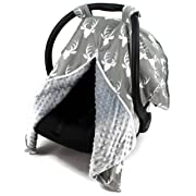 Dear Baby Gear Carseat Canopy, Antlers on Grey, Grey Minky