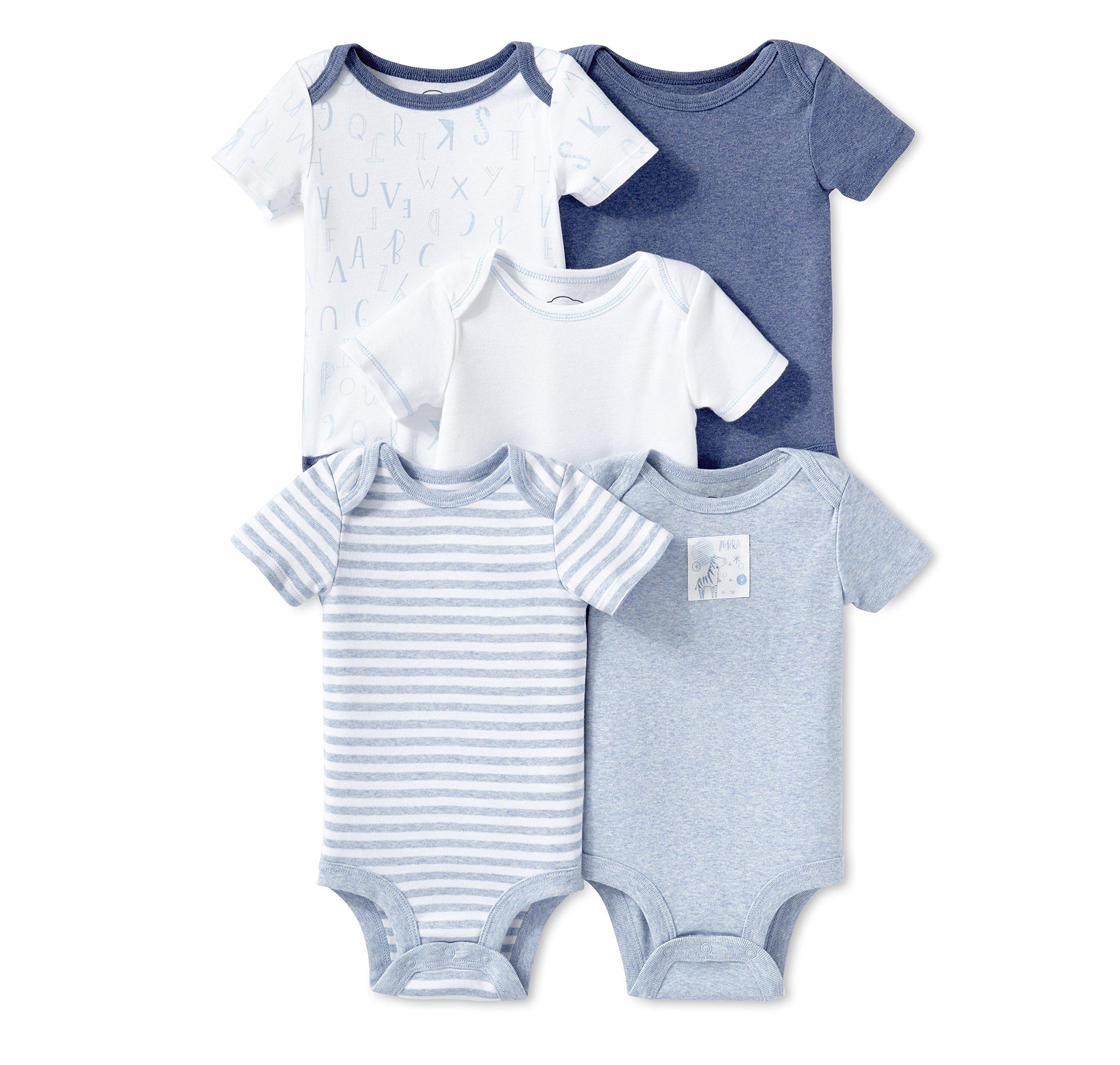 Lamaze Baby Organic Essentials 5 Pack Shortsleeve Bodysuits, Blue, 18M
