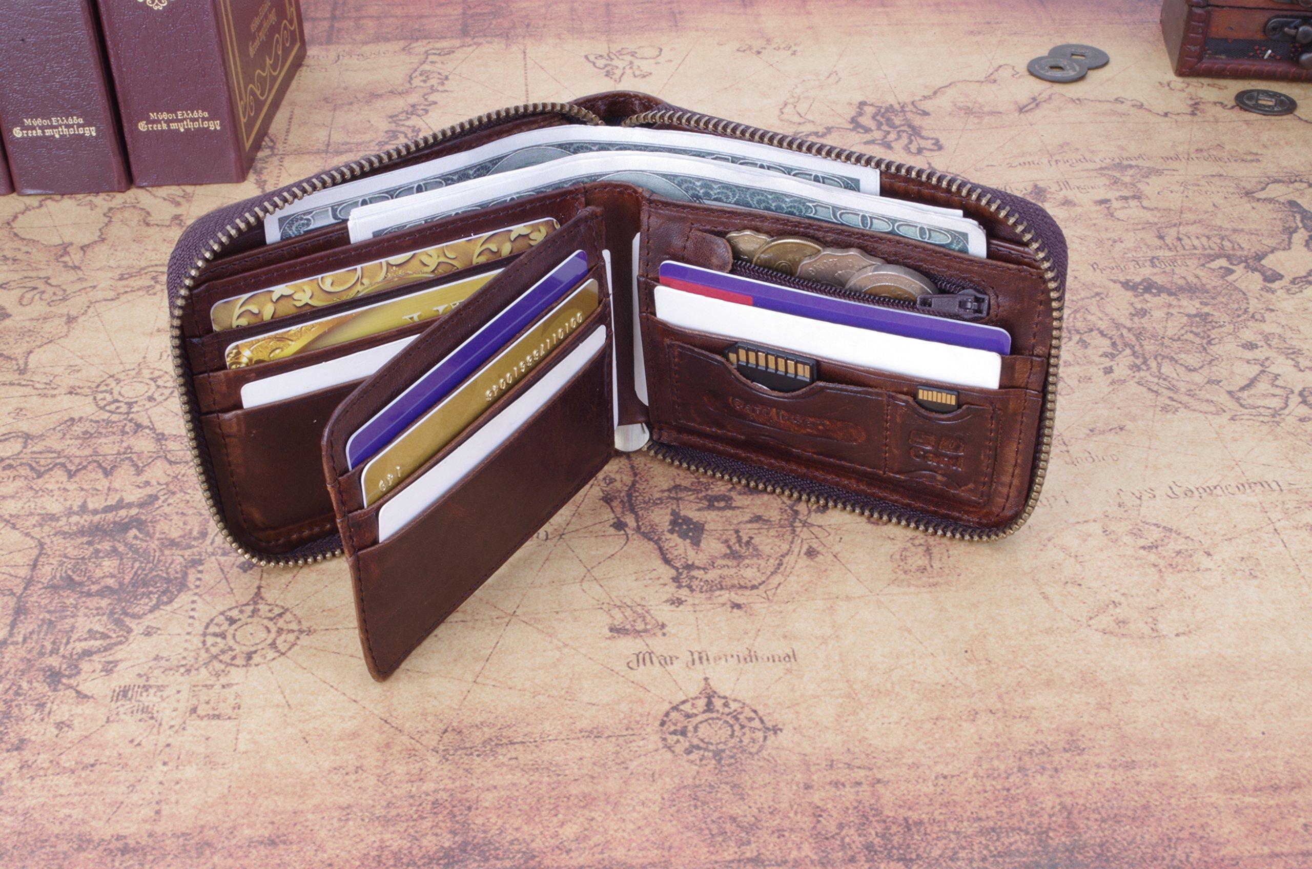 Admetus Men's Genuine Leather Short Zip-around Bifold Wallet (brown) by Admetus (Image #2)