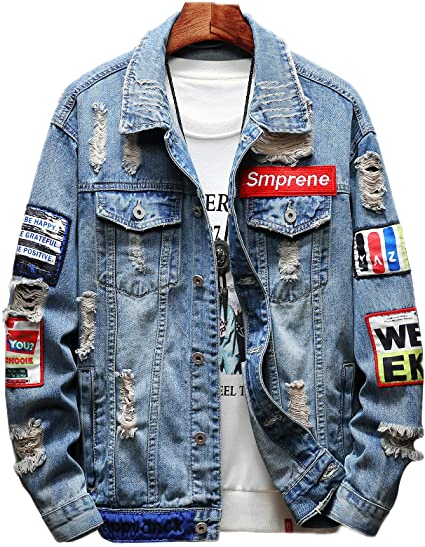 FKK デニム ジャケット メンズ ヒップホップ ファッション Gジャン