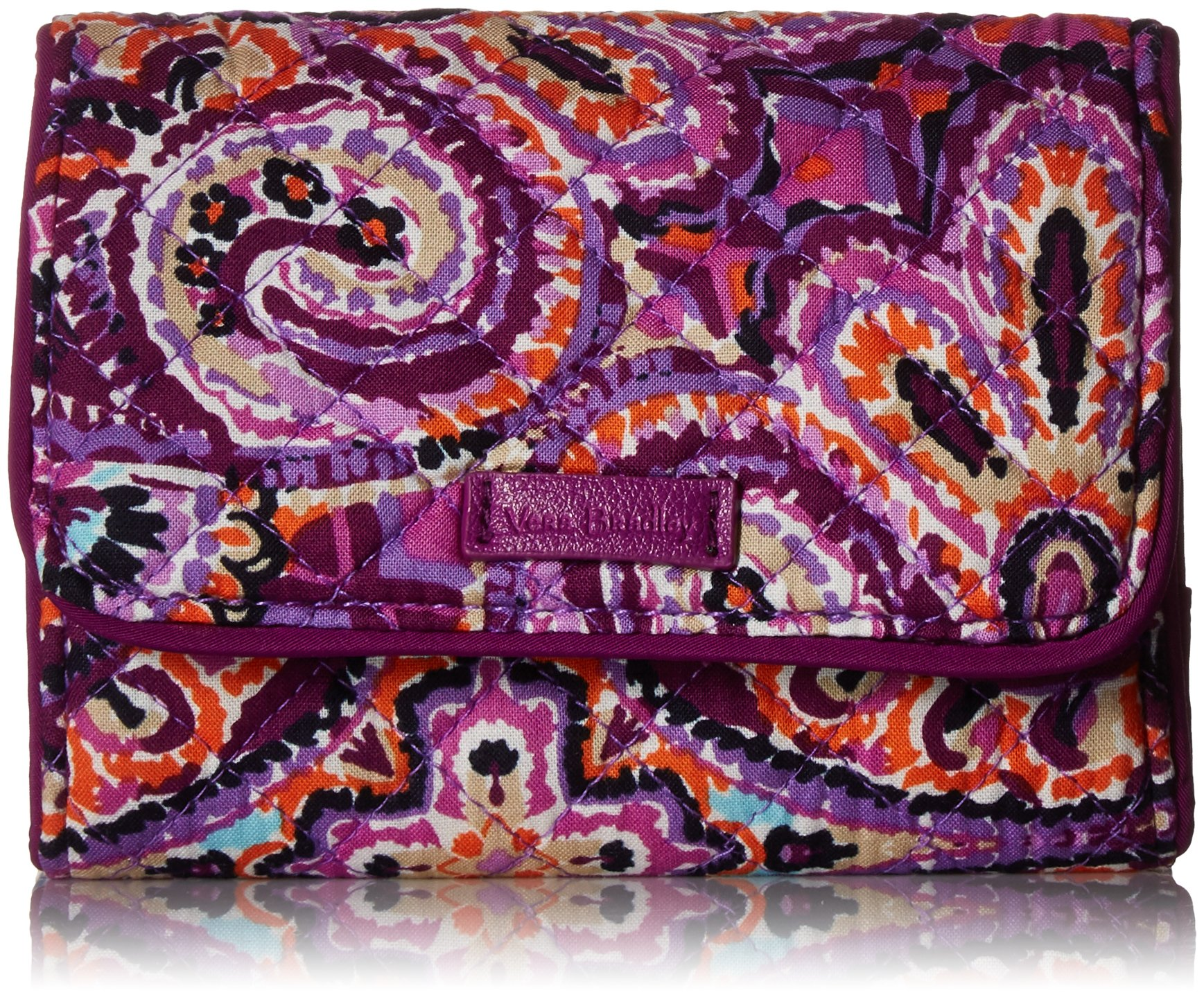 Vera Bradley Iconic Rfid Riley Compact Wallet, Signature Cotton, Dream Tapestry