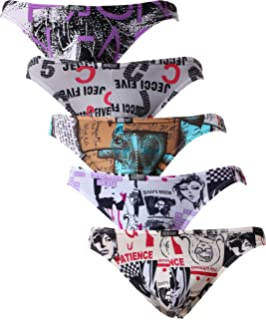 iKingsky Mens Ginkgo Biloba Thong Underwear Stretch Mens Thong Printed T-Back Panties