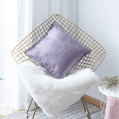 Amazon Com Home Brilliant Large Velvet Throw Pillow Cover Fall Euro Sham For Couch Bench Floor 26 X 26 Inches 66cm Lilac Home Kitchen